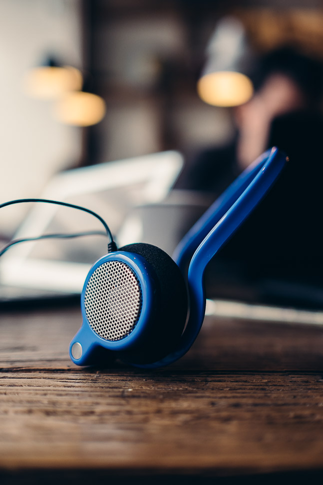 eGrado Headphones with iPhone in Williamsburg