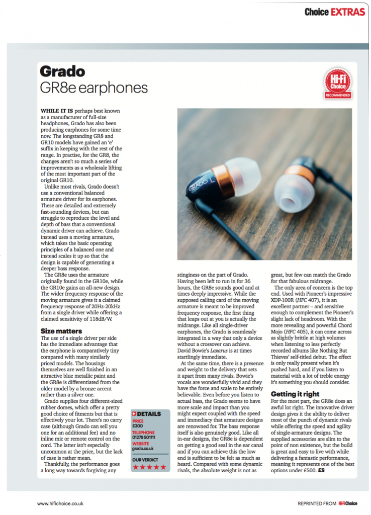 Grado Labs GR8e In-ear Editor's Choice Five Star Review WHAT HIFI