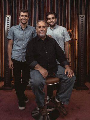 Jonathan, John, and Matthew Grado in Listening Room Smiling